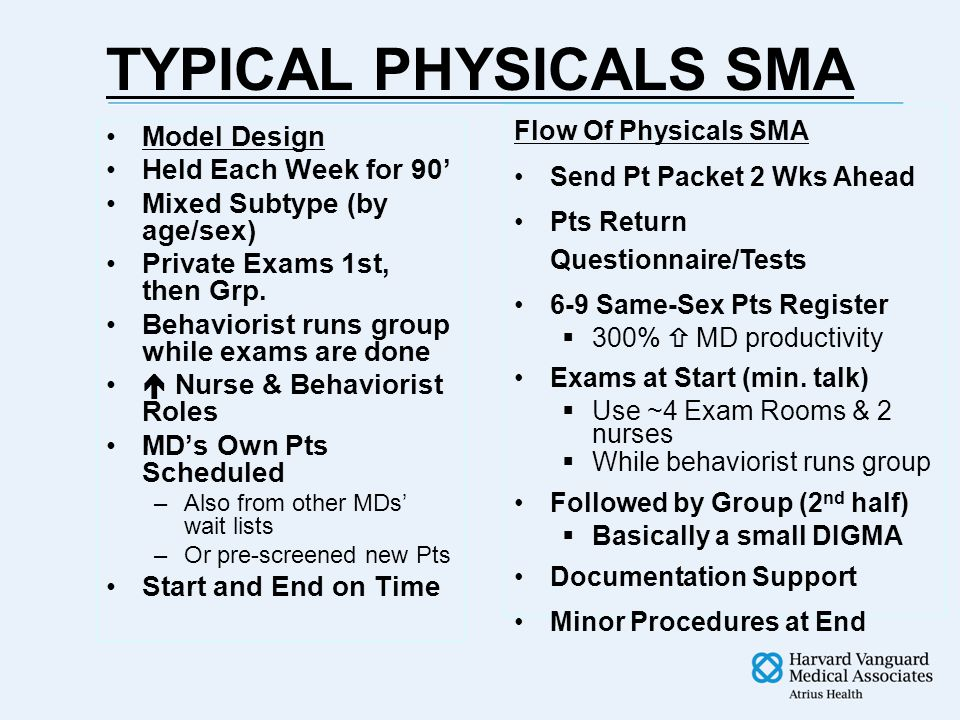 TYPICAL PHYSICALS SMA Model Design Held Each Week for 90' Mixed Subtype (by age/sex) Private Exams 1st, then Grp.