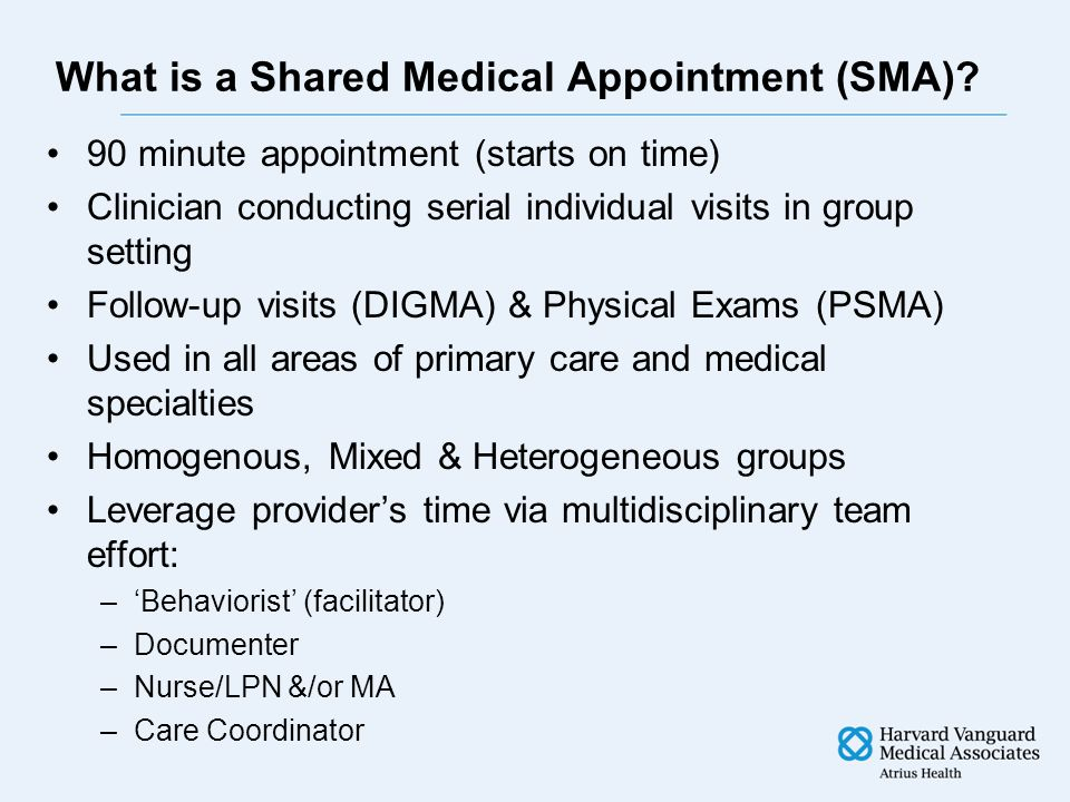 What is a Shared Medical Appointment (SMA).