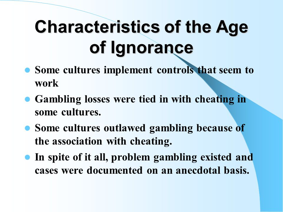 Gambling as Problematic Among First Nations People Only in rare circumstances were gambling problems mentioned in the Human Relations Area Files. Amon