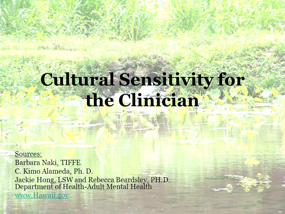 Cultural Sensitivity for the Clinician Sources: Barbara Naki, TIFFE C.