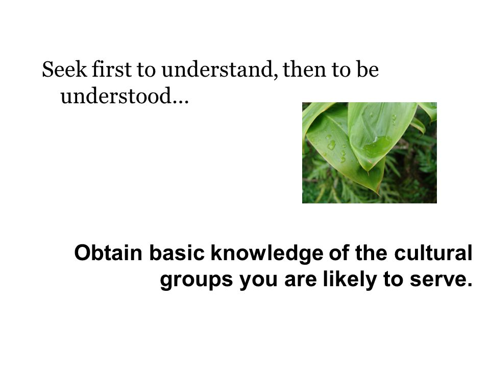 Seek first to understand, then to be understood… Obtain basic knowledge of the cultural groups you are likely to serve.