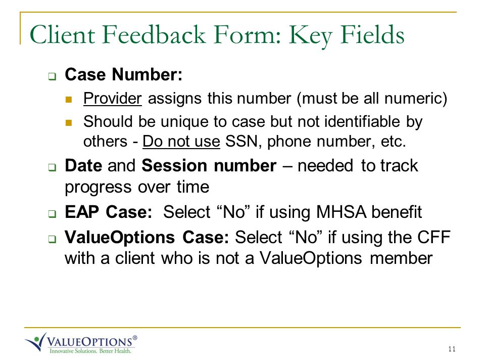 11 Client Feedback Form: Key Fields  Case Number: Provider assigns this number (must be all numeric) Should be unique to case but not identifiable by