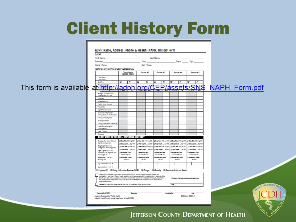 Client History Form This form is available at http://adph.org/CEP/assets/SNS_NAPH_Form.pdfhttp://adph.org/CEP/assets/SNS_NAPH_Form.pdf