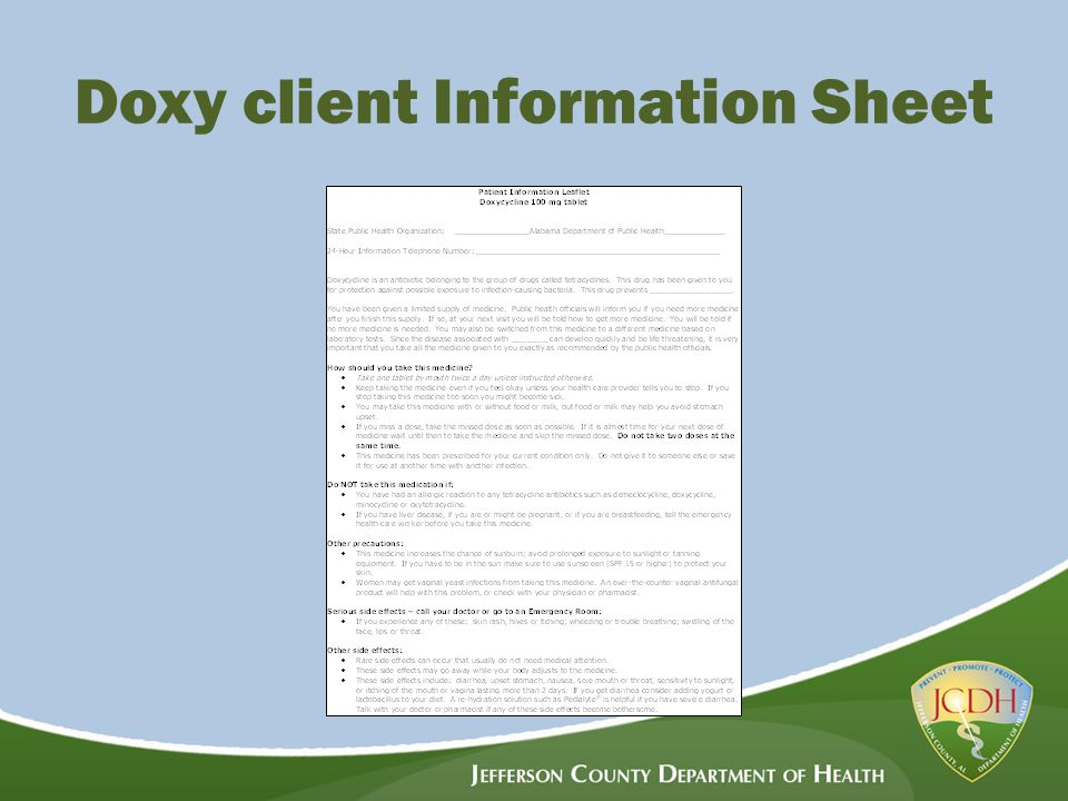 Doxy client Information Sheet
