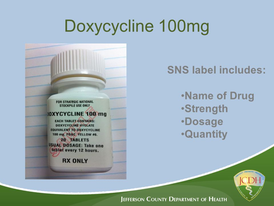 Doxycycline 100mg SNS label includes: Name of Drug Strength Dosage Quantity