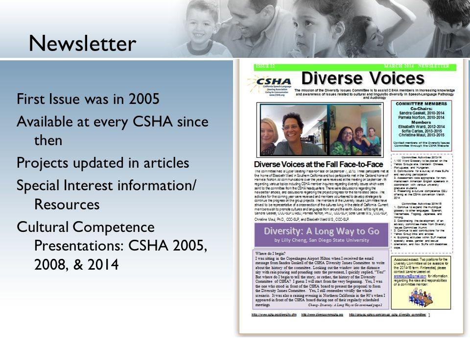 Newsletter First Issue was in 2005 Available at every CSHA since then Projects updated in articles Special Interest information/ Resources Cultural Competence Presentations: CSHA 2005, 2008, & 2014