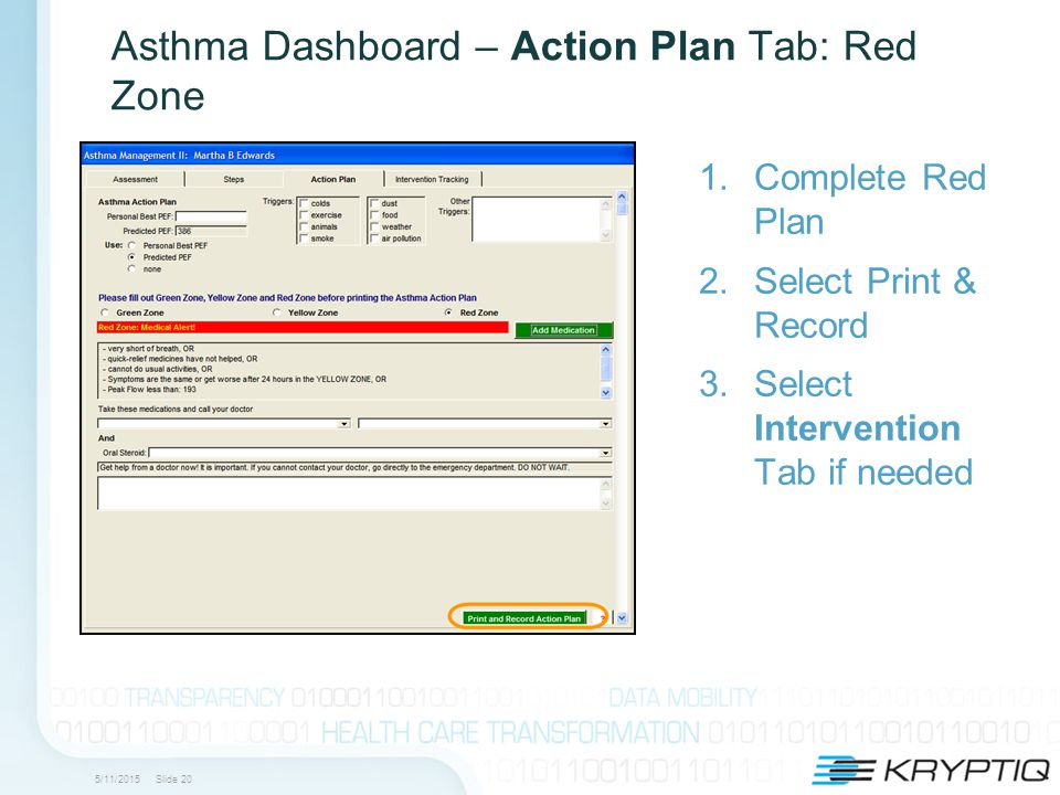 5/11/2015 Slide 20 Asthma Dashboard – Action Plan Tab: Red Zone 1.Complete Red Plan 2.Select Print & Record 3.Select Intervention Tab if needed