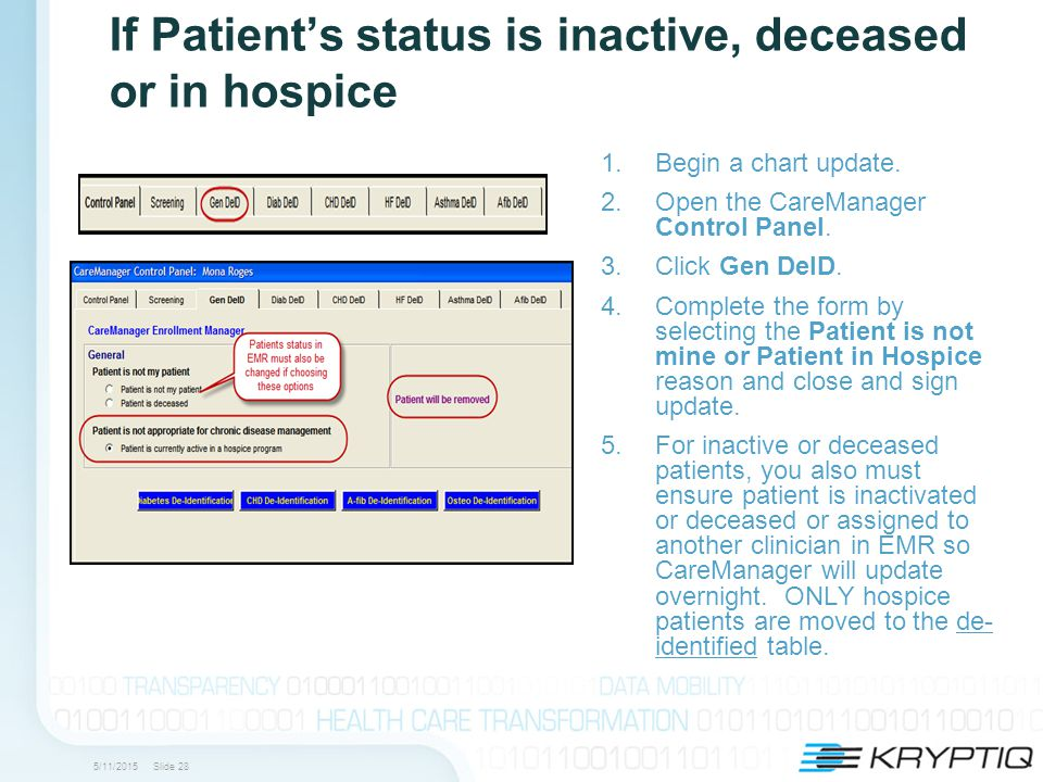 5/11/2015 Slide 28 If Patient's status is inactive, deceased or in hospice 1.Begin a chart update.