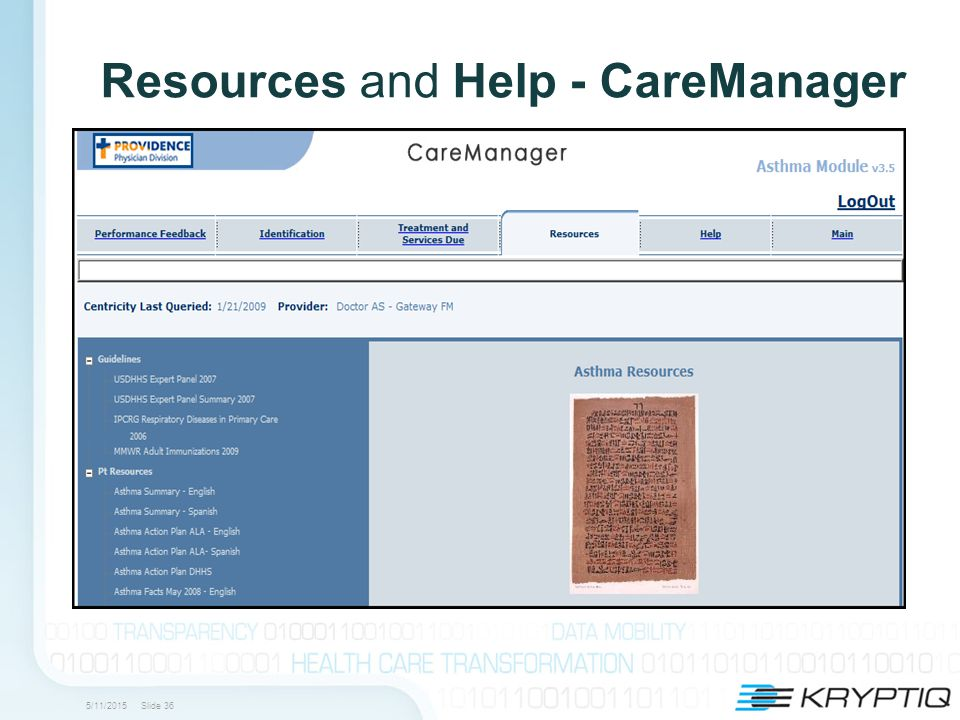 5/11/2015 Slide 36 Resources and Help - CareManager