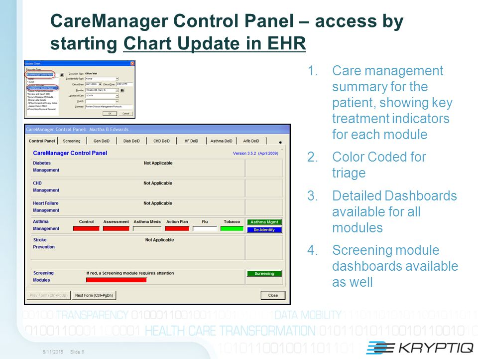 5/11/2015 Slide 6 CareManager Control Panel – access by starting Chart Update in EHR 1.Care management summary for the patient, showing key treatment indicators for each module 2.Color Coded for triage 3.Detailed Dashboards available for all modules 4.Screening module dashboards available as well