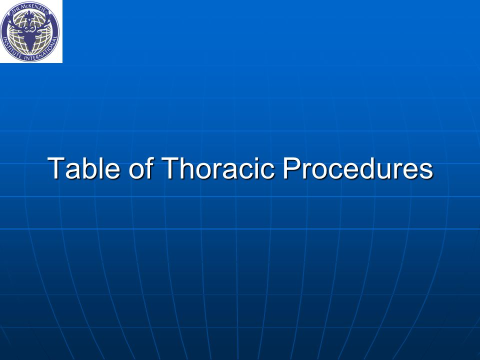 Table of Thoracic Procedures