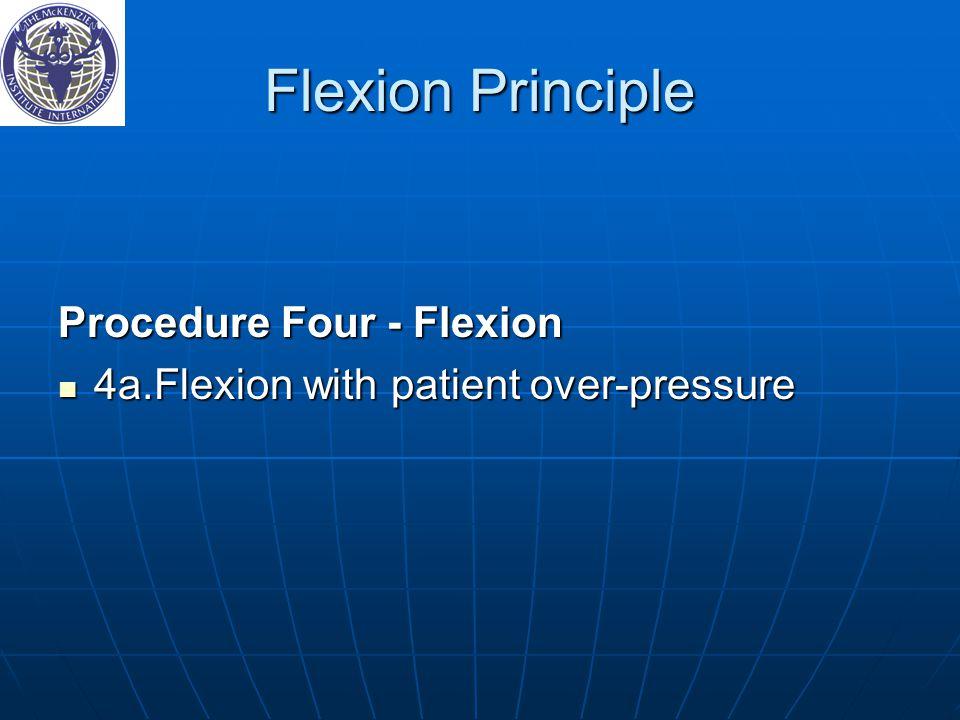Flexion Principle Procedure Four ‑ Flexion 4a.Flexion with patient over-pressure 4a.Flexion with patient over-pressure