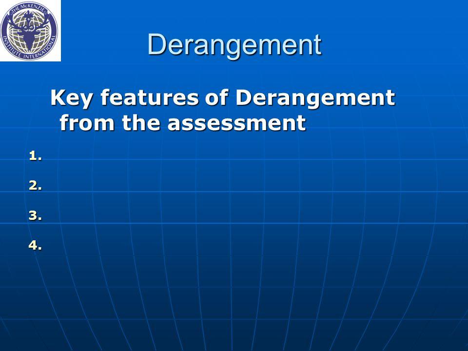 Derangement Key features of Derangement from the assessment Key features of Derangement from the assessment 1.
