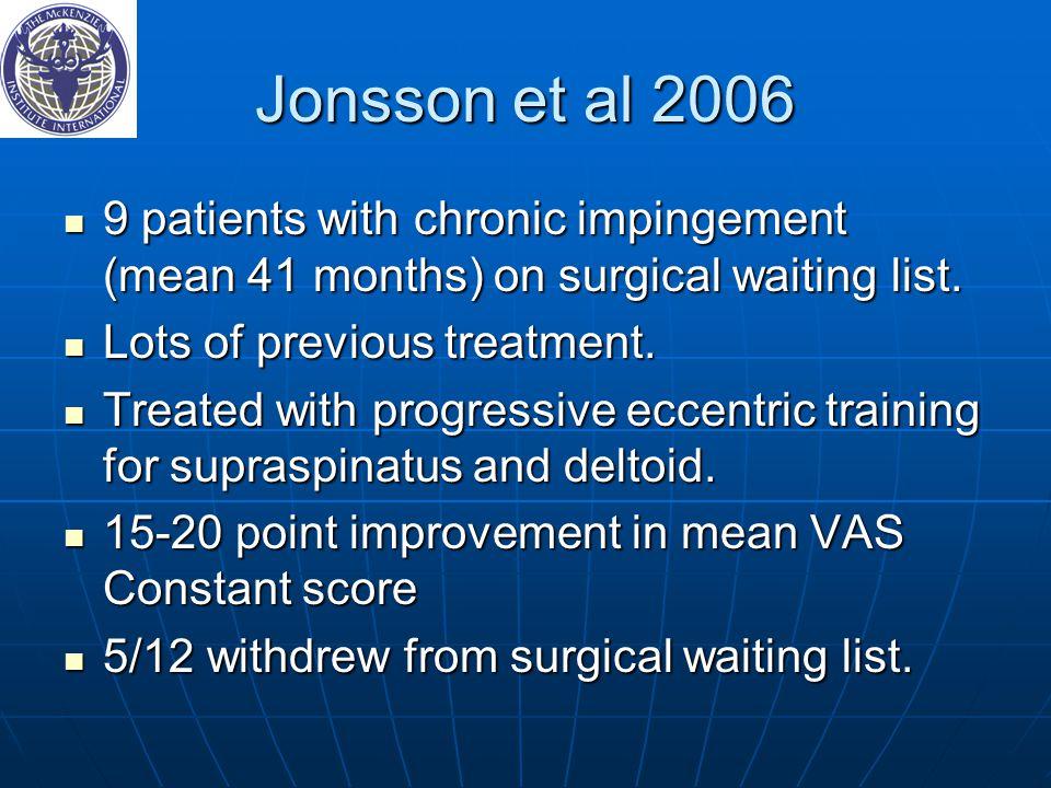 Jonsson et al 2006 9 patients with chronic impingement (mean 41 months) on surgical waiting list.