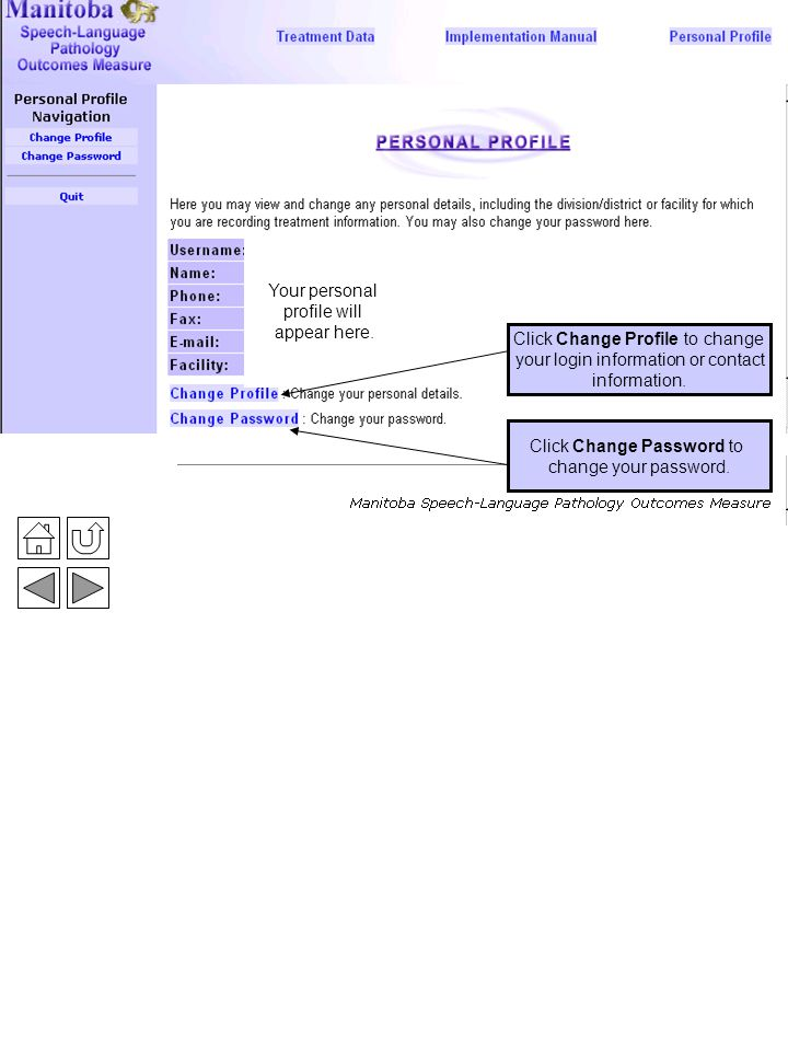 Personal Profile 3 Click Change Password to change your password.