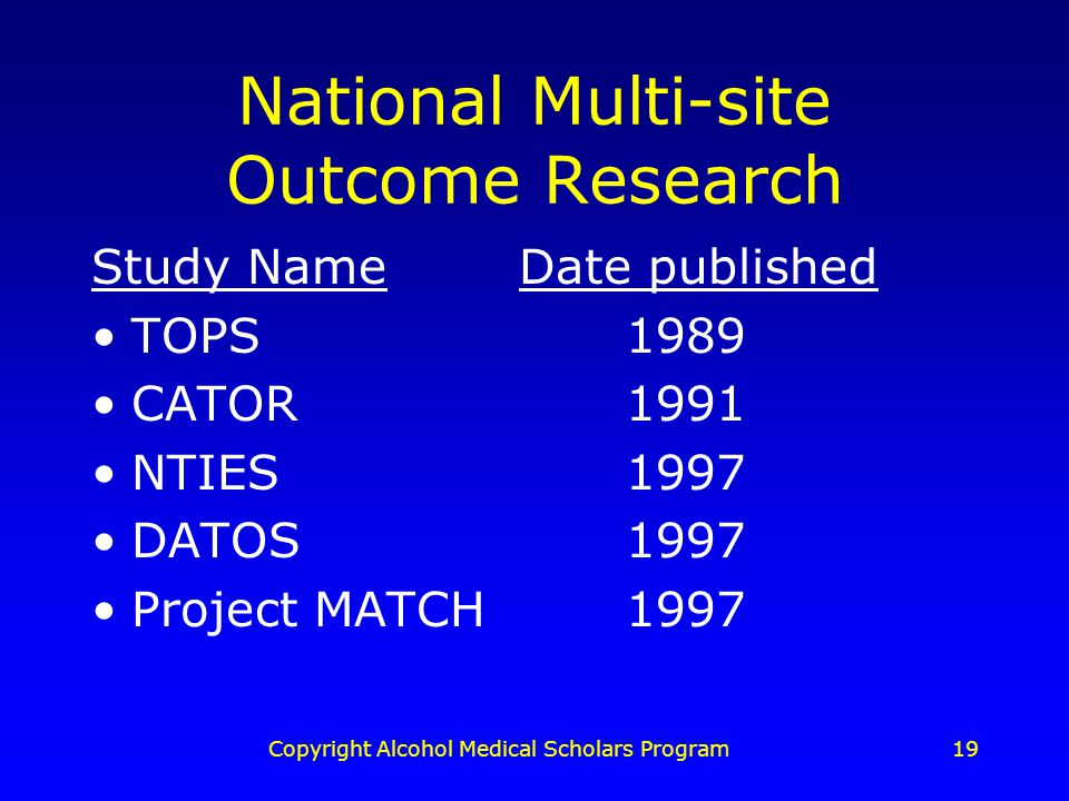 Copyright Alcohol Medical Scholars Program19 National Multi-site Outcome Research Study NameDate published TOPS1989 CATOR1991 NTIES1997 DATOS1997 Project MATCH1997