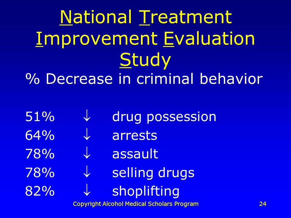 Copyright Alcohol Medical Scholars Program24 National Treatment Improvement Evaluation Study % Decrease in criminal behavior 51%drug possession 64%arrests 78%assault 78%selling drugs 82%shoplifting