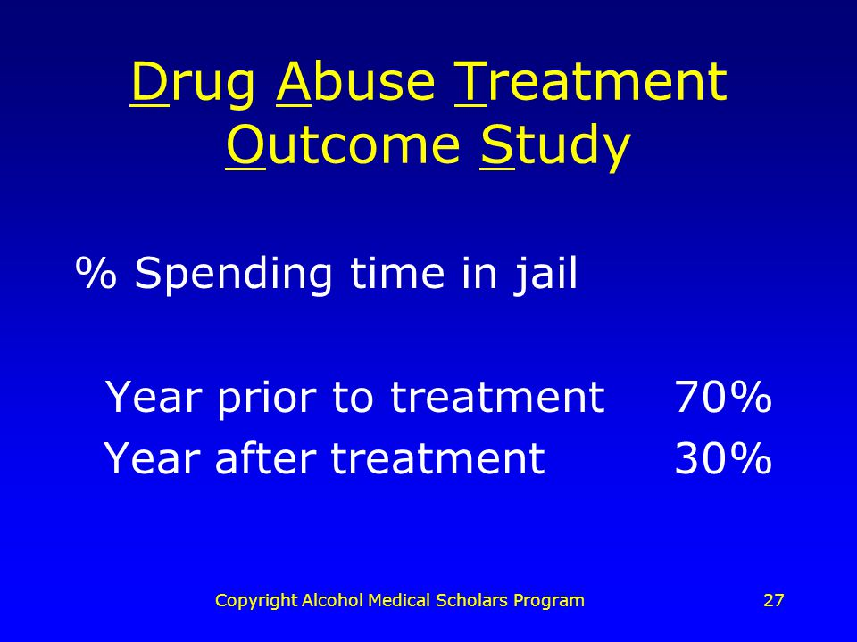 Copyright Alcohol Medical Scholars Program27 Drug Abuse Treatment Outcome Study % Spending time in jail Year prior to treatment70% Year after treatment30%