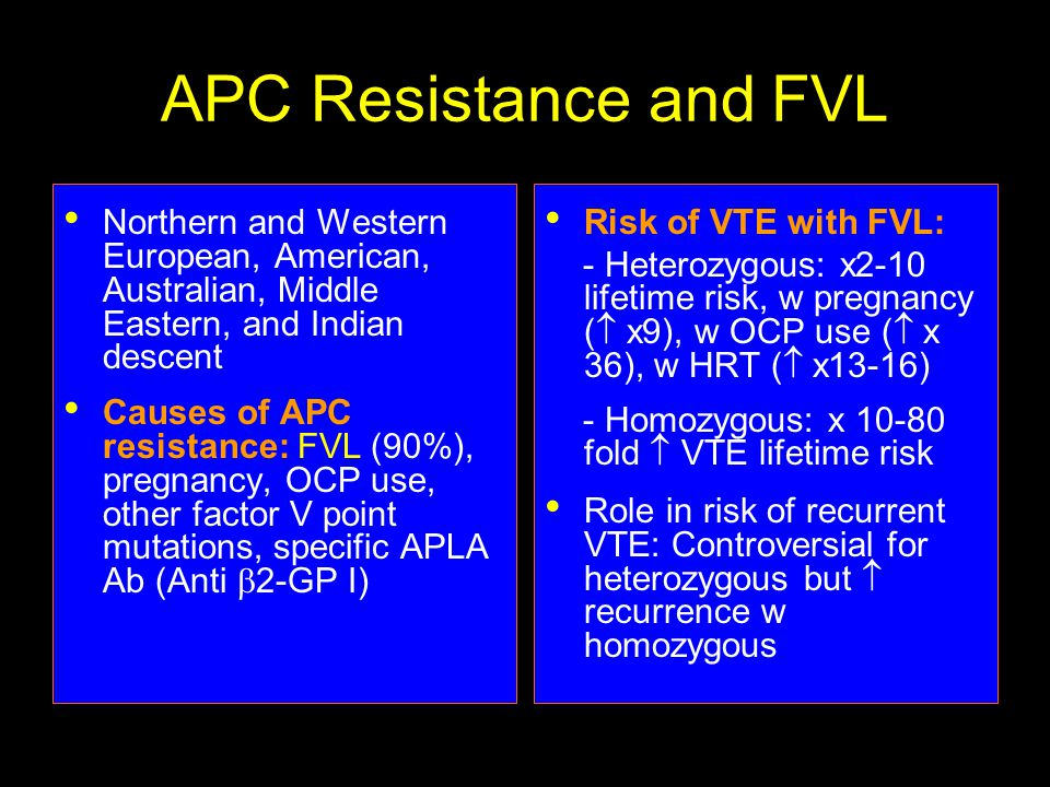 APC Resistance and FVL Northern and Western European, American, Australian, Middle Eastern, and Indian descent Causes of APC resistance: FVL (90%), pregnancy, OCP use, other factor V point mutations, specific APLA Ab (Anti  2-GP I) Risk of VTE with FVL: - Heterozygous: x2-10 lifetime risk, w pregnancy (  x9), w OCP use (  x 36), w HRT (  x13-16) - Homozygous: x 10-80 fold  VTE lifetime risk Role in risk of recurrent VTE: Controversial for heterozygous but  recurrence w homozygous