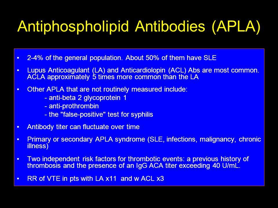 Antiphospholipid Antibodies (APLA) 2-4% of the general population.