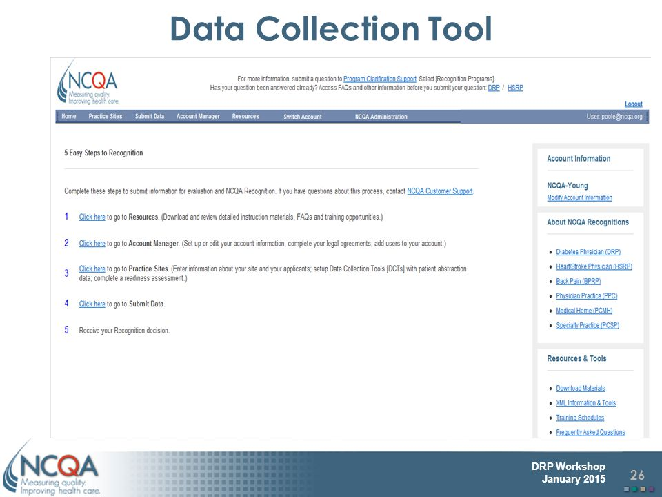 26 DRP Workshop January 2015 Data Collection Tool