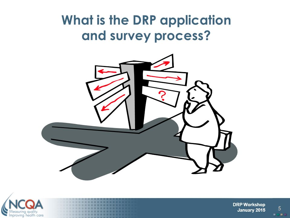 5 DRP Workshop January 2015 What is the DRP application and survey process?