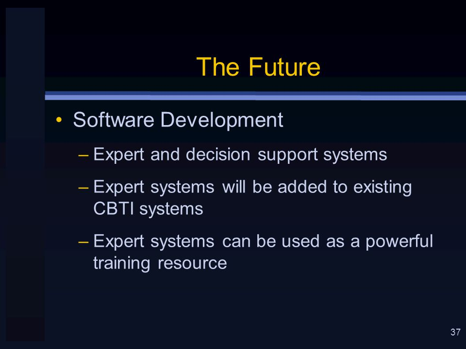 37 The Future Software Development –Expert and decision support systems –Expert systems will be added to existing CBTI systems –Expert systems can be used as a powerful training resource