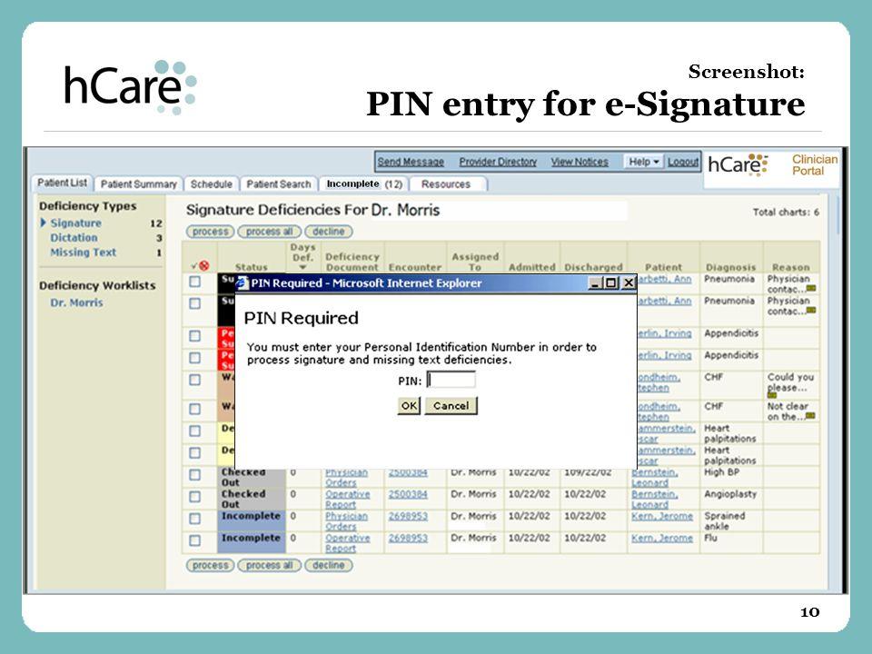 10 Screenshot: PIN entry for e-Signature