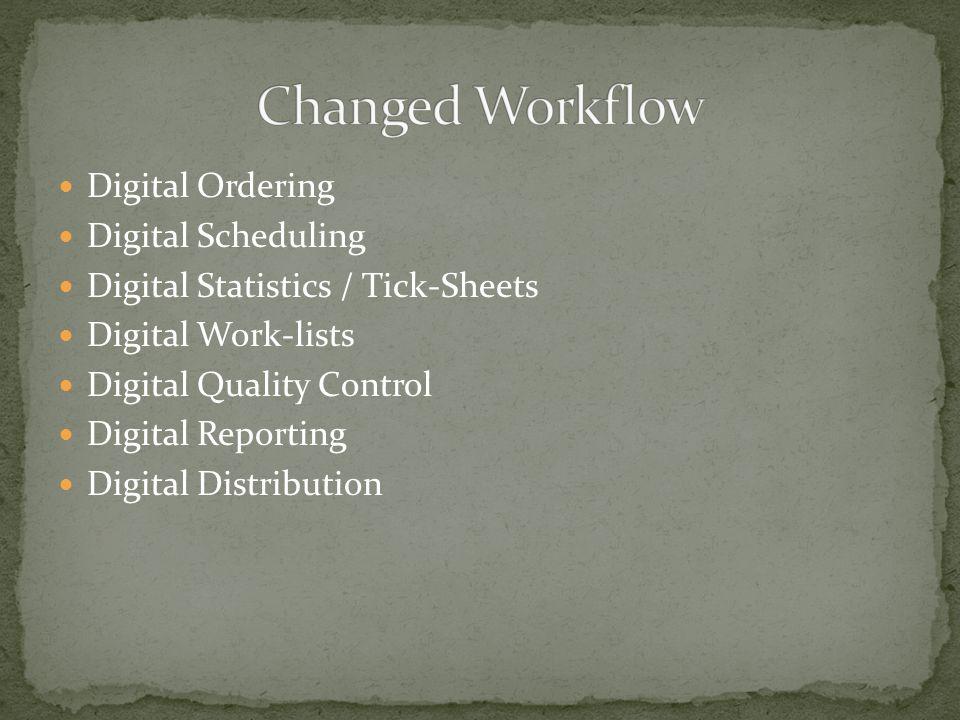 Digital Ordering Digital Scheduling Digital Statistics / Tick-Sheets Digital Work-lists Digital Quality Control Digital Reporting Digital Distribution