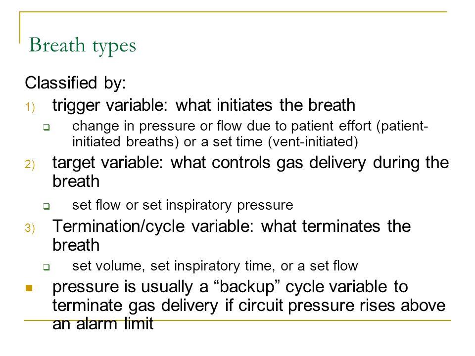 5 basic breath types 1.volume assist (VA) 2. volume control (VC) 3.