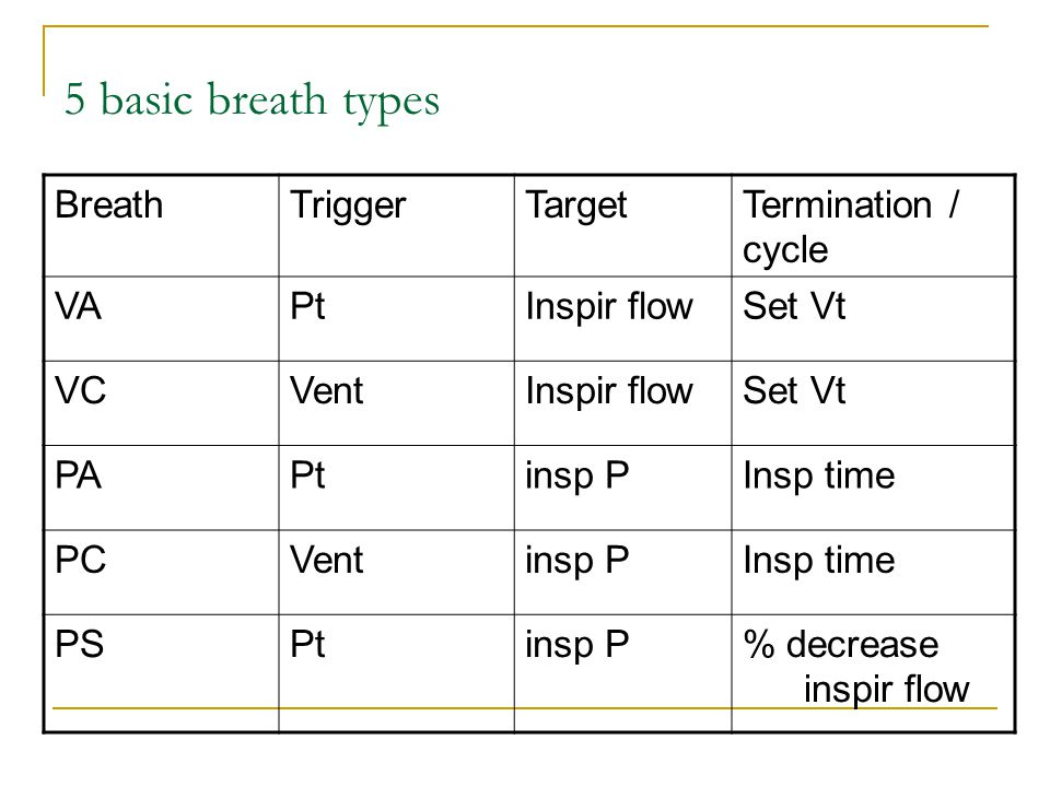 5 basic breath types BreathTriggerTargetTermination / cycle VAPtInspir flowSet Vt VCVentInspir flowSet Vt PAPtinsp PInsp time PCVentinsp PInsp time PS