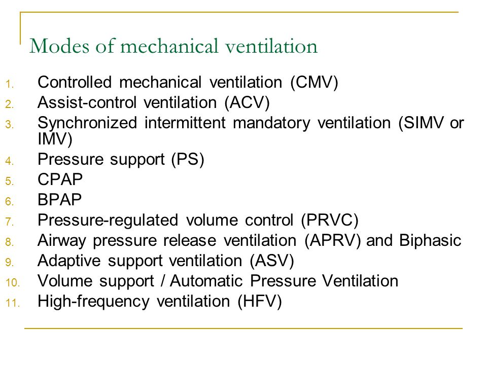 Modes of mechanical ventilation 1. Controlled mechanical ventilation (CMV) 2. Assist-control ventilation (ACV) 3. Synchronized intermittent mandatory