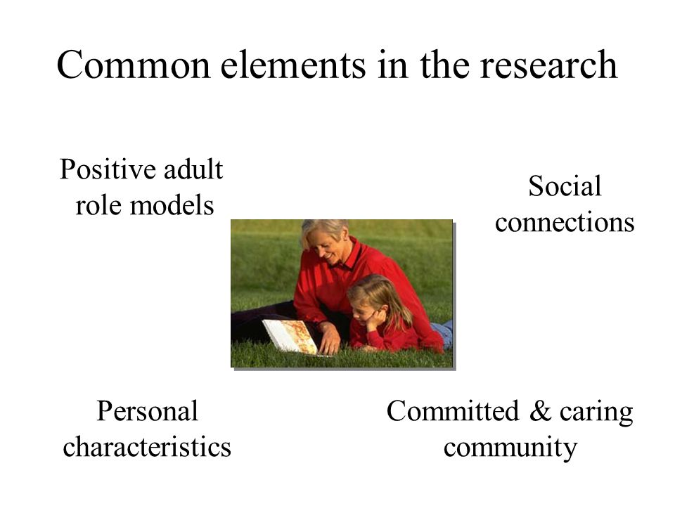 Common elements in the research Positive adult role models Social connections Committed & caring community Personal characteristics