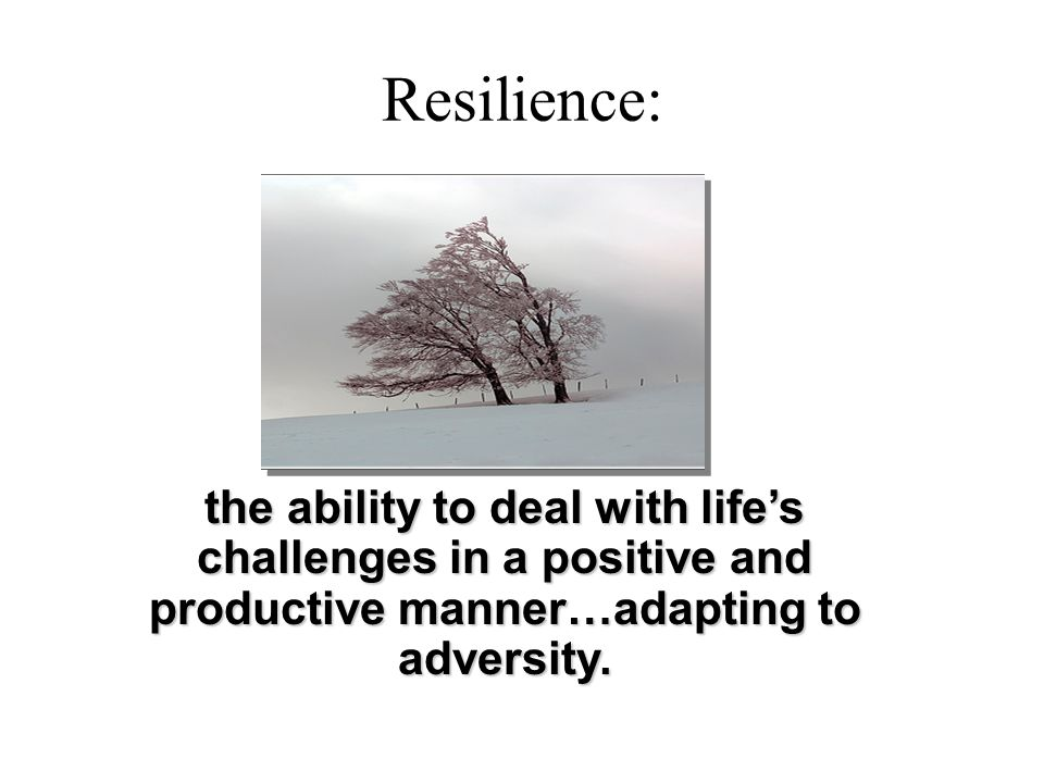 Resilience: the ability to deal with life's challenges in a positive and productive manner…adapting to adversity.