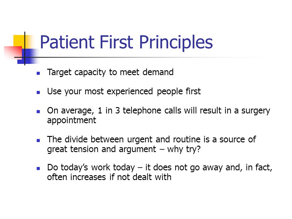 Patient First Principles Target capacity to meet demand Use your most experienced people first On average, 1 in 3 telephone calls will result in a surgery appointment The divide between urgent and routine is a source of great tension and argument – why try.
