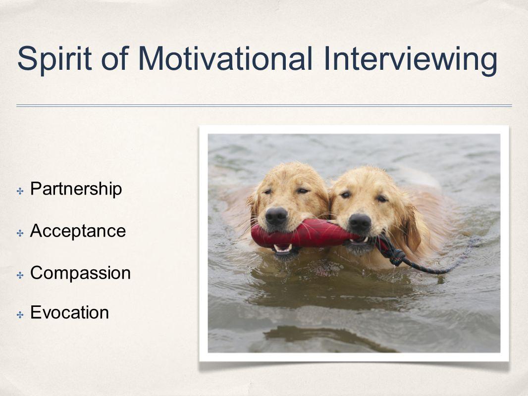 ✤ Partnership ✤ Acceptance ✤ Compassion ✤ Evocation Spirit of Motivational Interviewing