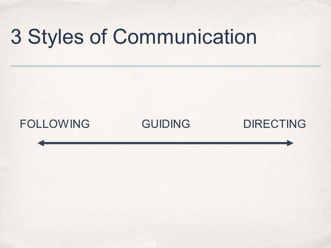 3 Styles of Communication FOLLOWINGDIRECTINGGUIDING