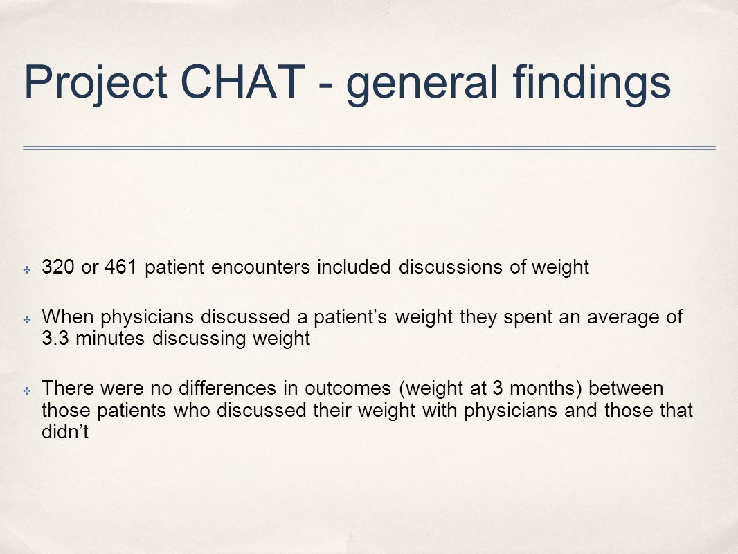 Project CHAT - general findings ✤ 320 or 461 patient encounters included discussions of weight ✤ When physicians discussed a patient's weight they spent an average of 3.3 minutes discussing weight ✤ There were no differences in outcomes (weight at 3 months) between those patients who discussed their weight with physicians and those that didn't