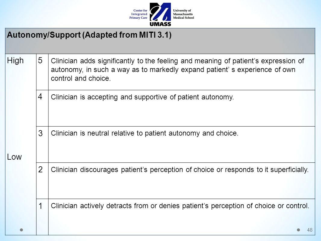 48 Autonomy/Support (Adapted from MITI 3.1) High Low 5 Clinician adds significantly to the feeling and meaning of patient's expression of autonomy, in such a way as to markedly expand patient' s experience of own control and choice.