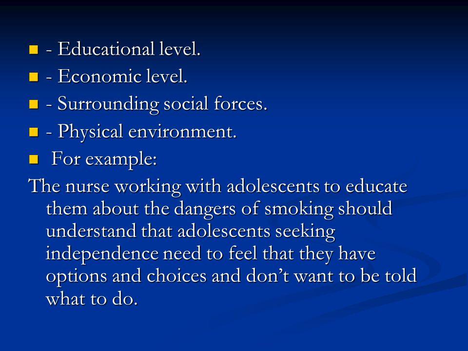 - Educational level. - Educational level. - Economic level. - Economic level. - Surrounding social forces. - Surrounding social forces. - Physical env