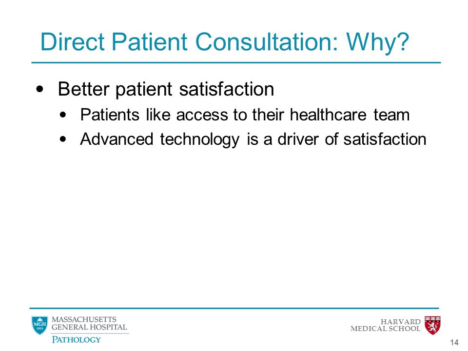 HARVARD MEDICAL SCHOOL 14 Direct Patient Consultation: Why.