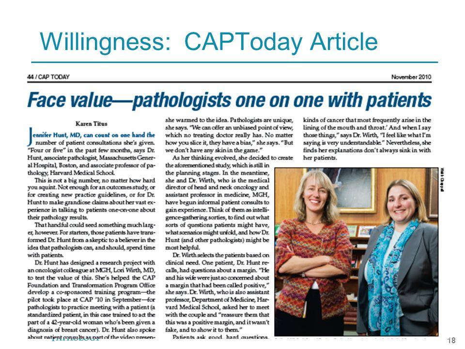 HARVARD MEDICAL SCHOOL 18 Willingness: CAPToday Article