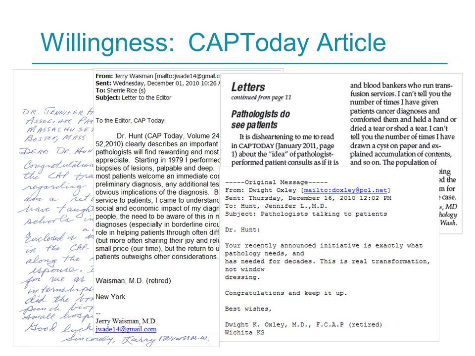 HARVARD MEDICAL SCHOOL 19 Willingness: CAPToday Article