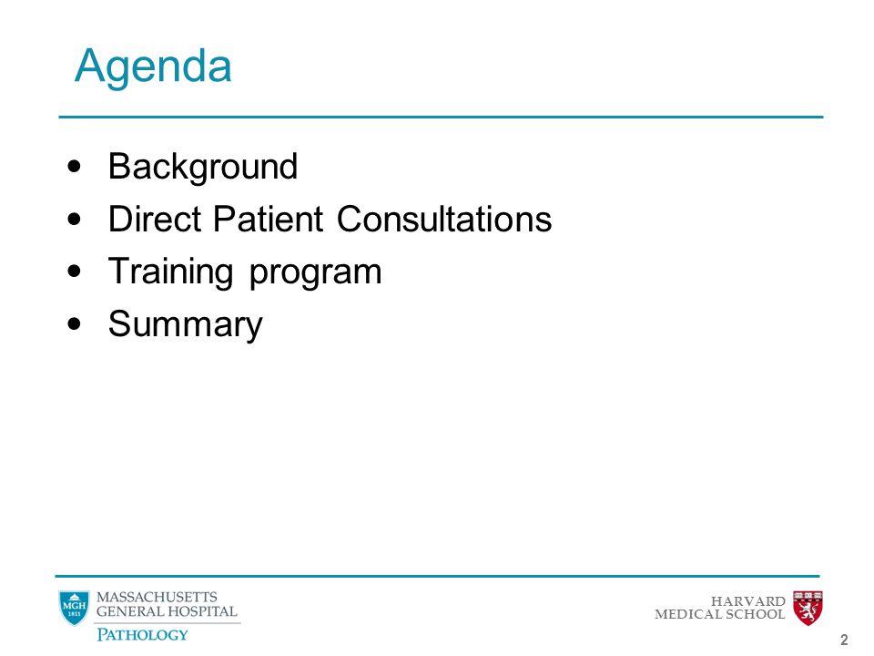HARVARD MEDICAL SCHOOL 2 Agenda Background Direct Patient Consultations Training program Summary