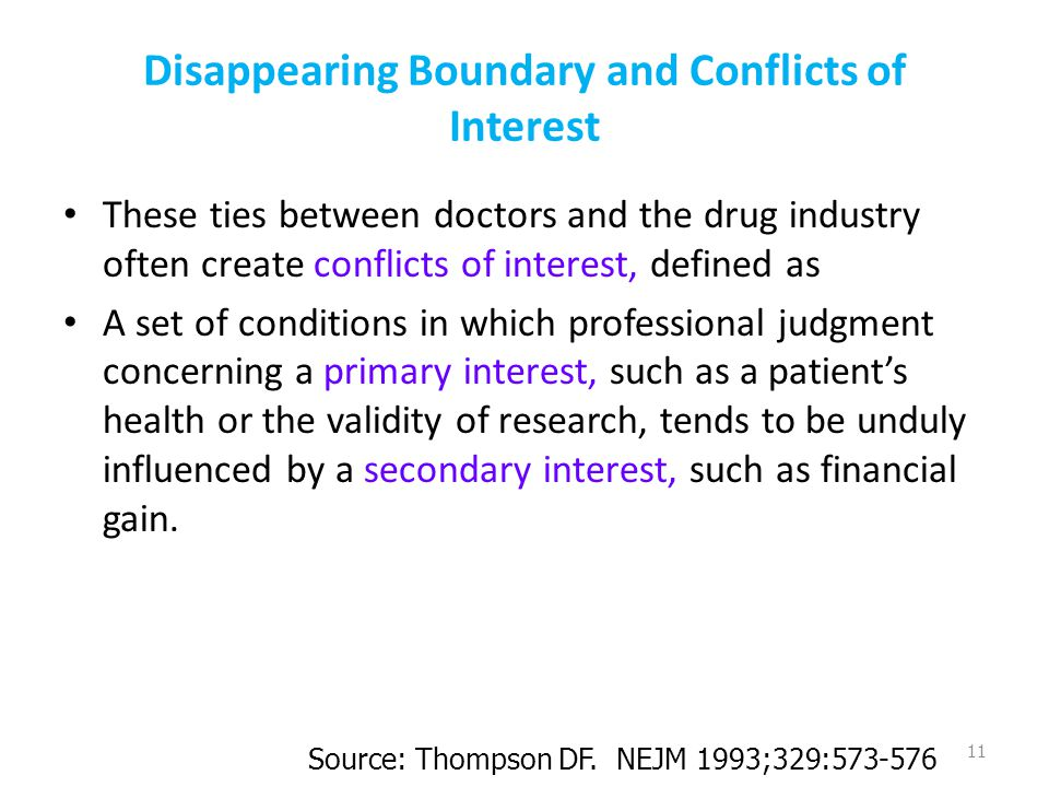 Disappearing Boundary and Conflicts of Interest These ties between doctors and the drug industry often create conflicts of interest, defined as A set