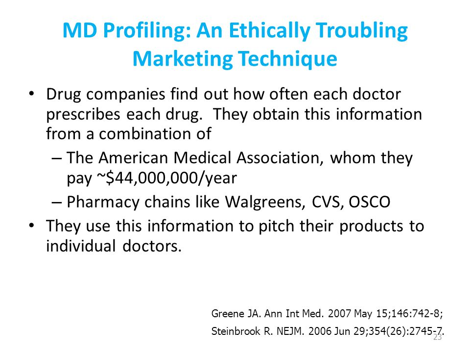 MD Profiling: An Ethically Troubling Marketing Technique Drug companies find out how often each doctor prescribes each drug.
