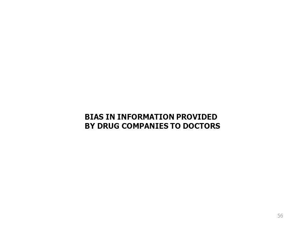 56 BIAS IN INFORMATION PROVIDED BY DRUG COMPANIES TO DOCTORS