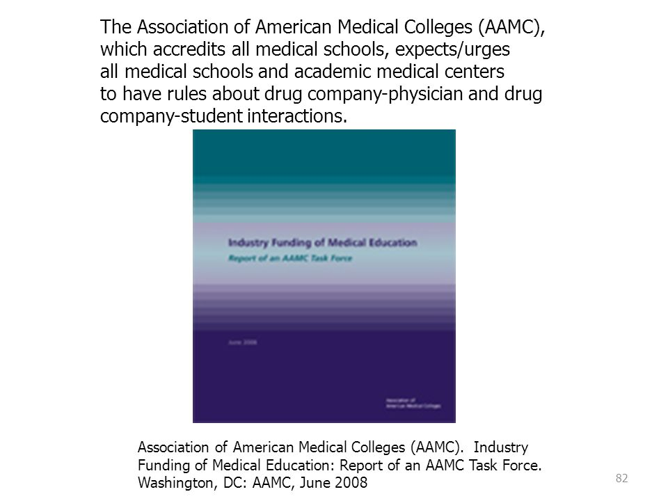 82 The Association of American Medical Colleges (AAMC), which accredits all medical schools, expects/urges all medical schools and academic medical ce