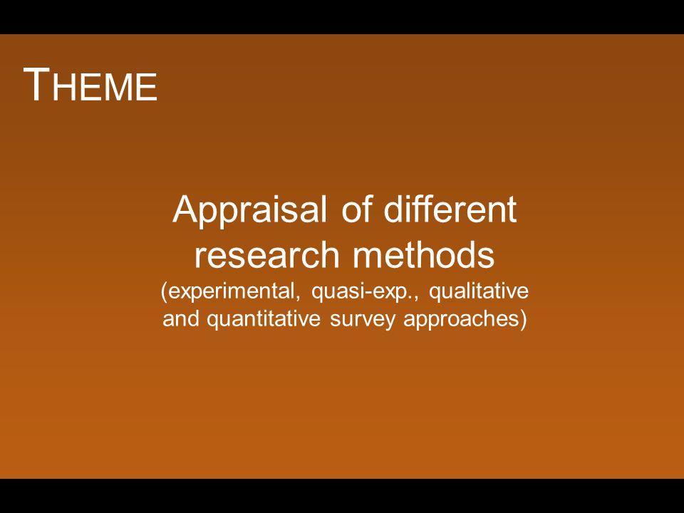 T HEME Appraisal of different research methods (experimental, quasi-exp., qualitative and quantitative survey approaches)