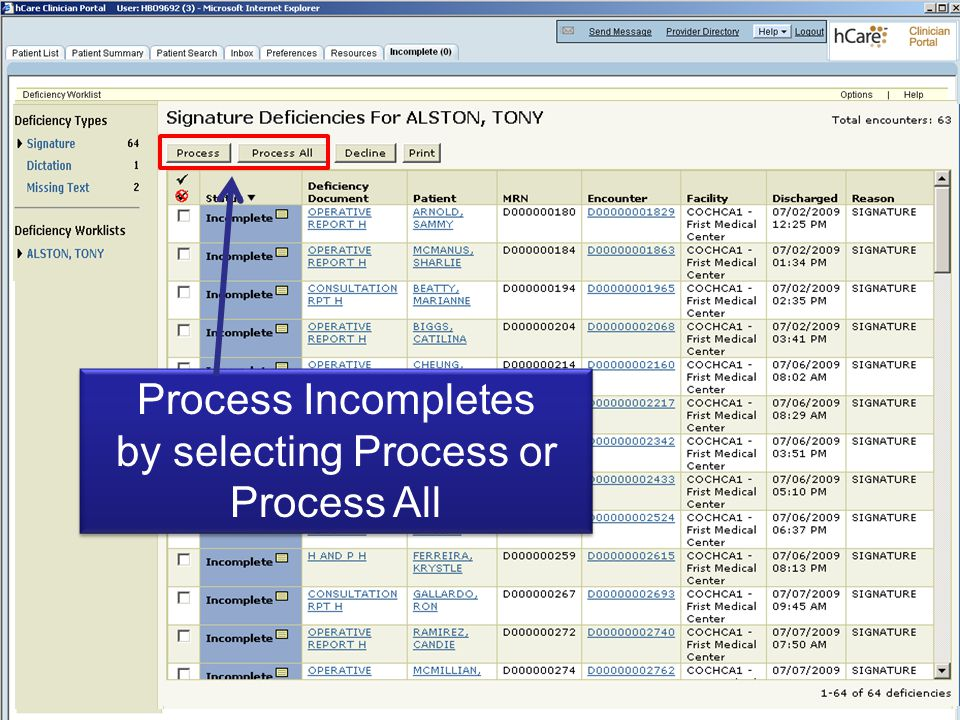 Process Incompletes by selecting Process or Process All Process Incompletes by selecting Process or Process All